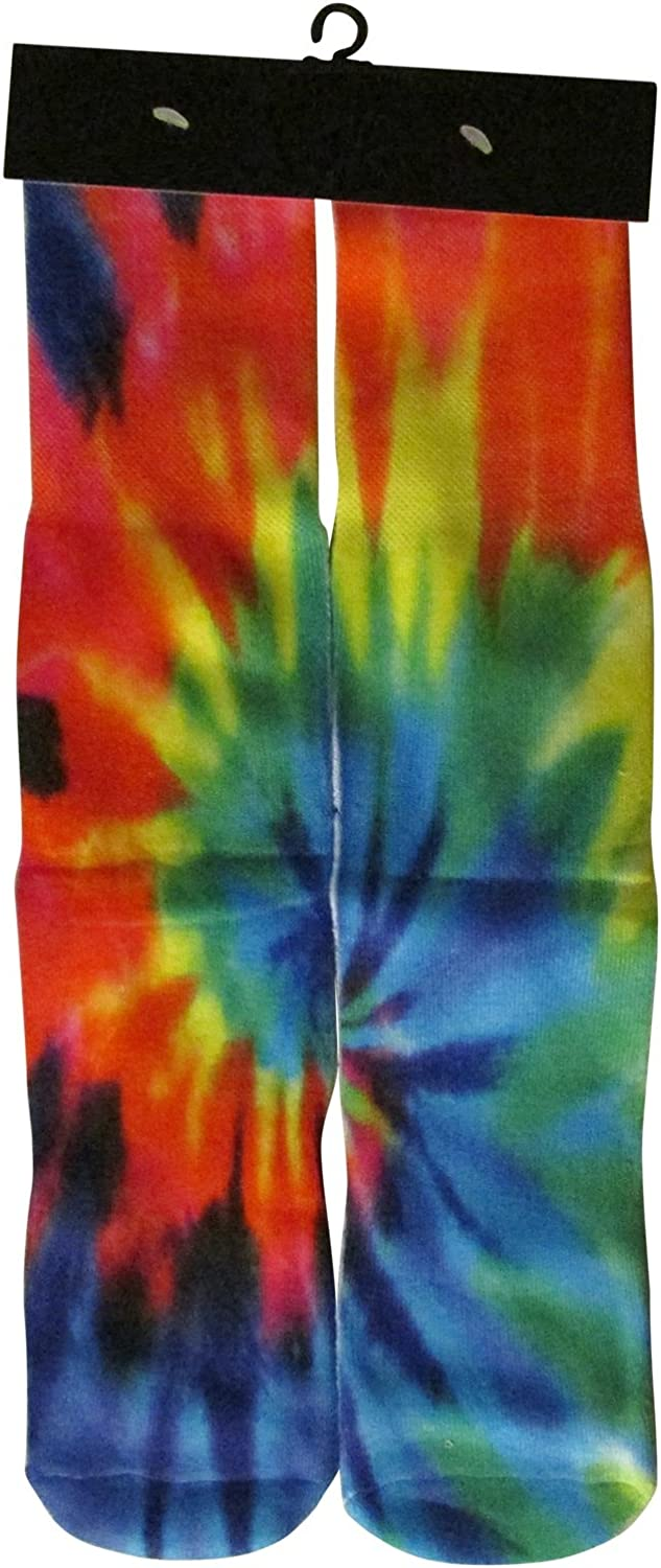 DJDesigns 3D Printed Graphic Kids Youth Sizes (Fits Ages 5-9) Mid Crew Sock (Tiedye)