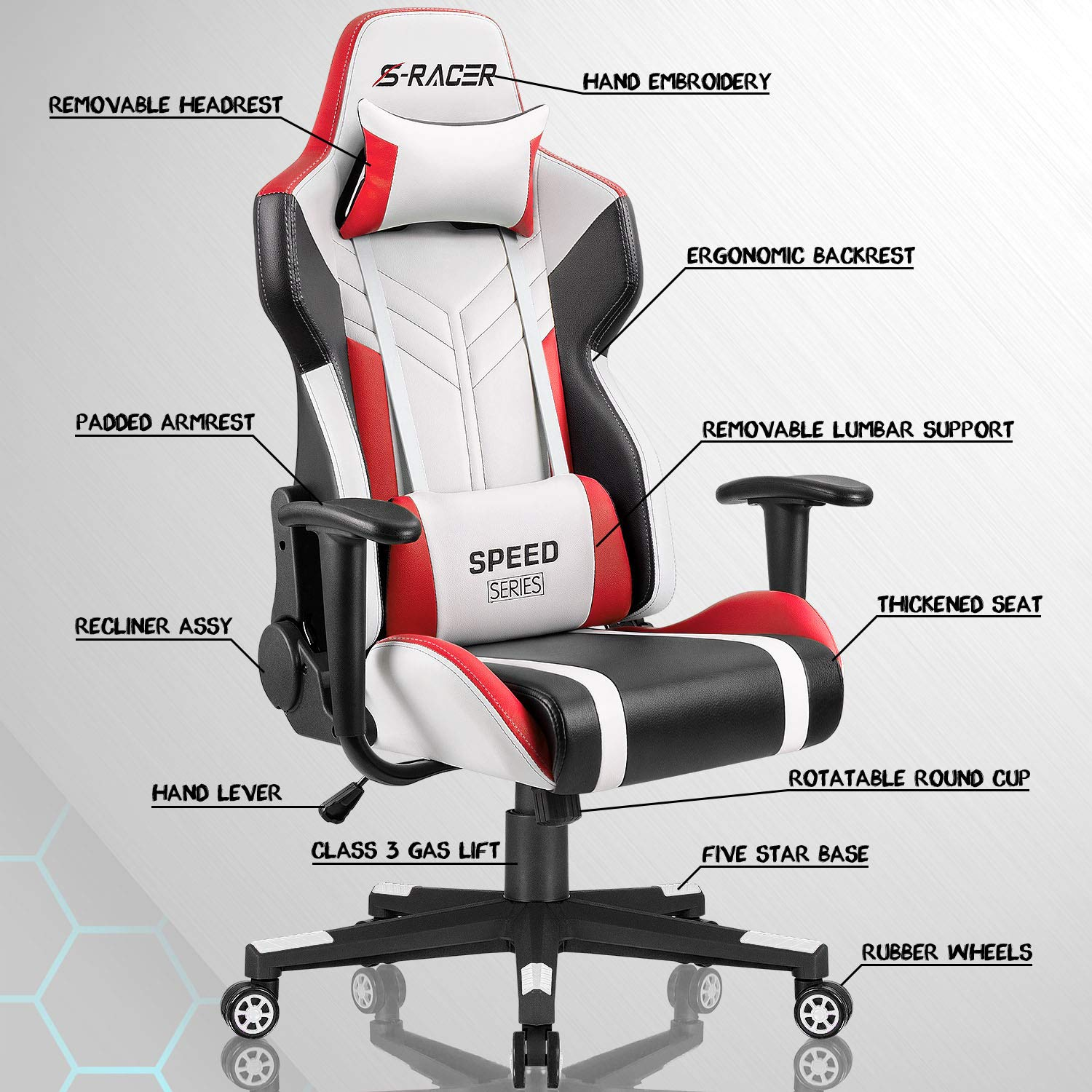 Homall Gaming Chair Racing Style High-Back PU Leather Office Chair Computer Desk Chair Executive and Ergonomic Swivel Chair with Headrest and Lumbar Support (White/Red) by Homall (Image #7)