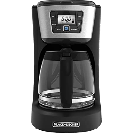 BLACK DECKER 12-Cup Programmable Coffeemaker, Black and Stainless Steel, CM2030B