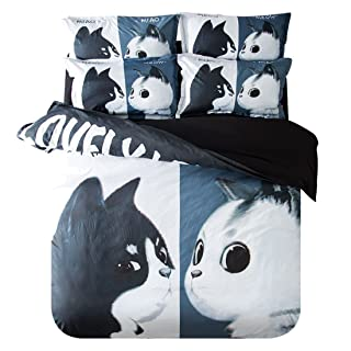 Family Decor Duvet Cover Set Queen Full Size Cute Animal Black cat White cat Decorative 3 Piece Bedding Set with 2 Pillow Shams for Children Kids Room-Luxurious, Comfortable, Breathable, Soft