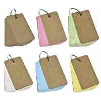WXJ13 300 Pieces Colour Record Card Kraft Paper Study Cards Unruled Colored Pages with Binder Ring, 4 x 7 cm