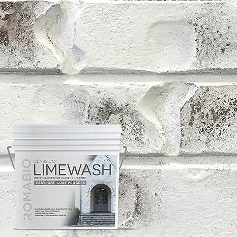 Romabio Classico Limewash Interior/Exterior Paint, Italian slaked-Lime, One Coat, Bianco White, 2.5L/0.67GAL