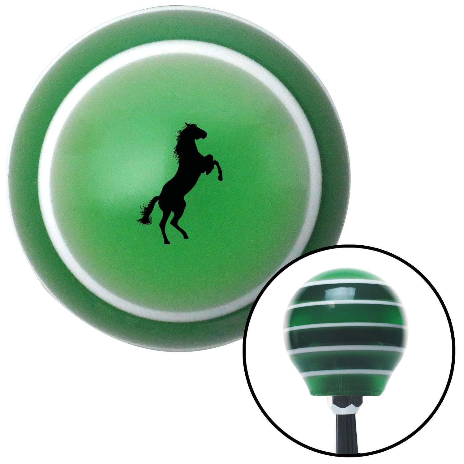 American Shifter 274807 Shift Knob Black Horse Rearing Green Stripe with M16 x 1.5 Insert