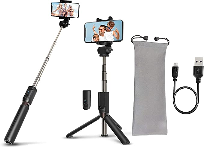 Tripods Phone Selfie Wireless Remote Bluetooth Compatible Android Smartphone iPhone Max Black