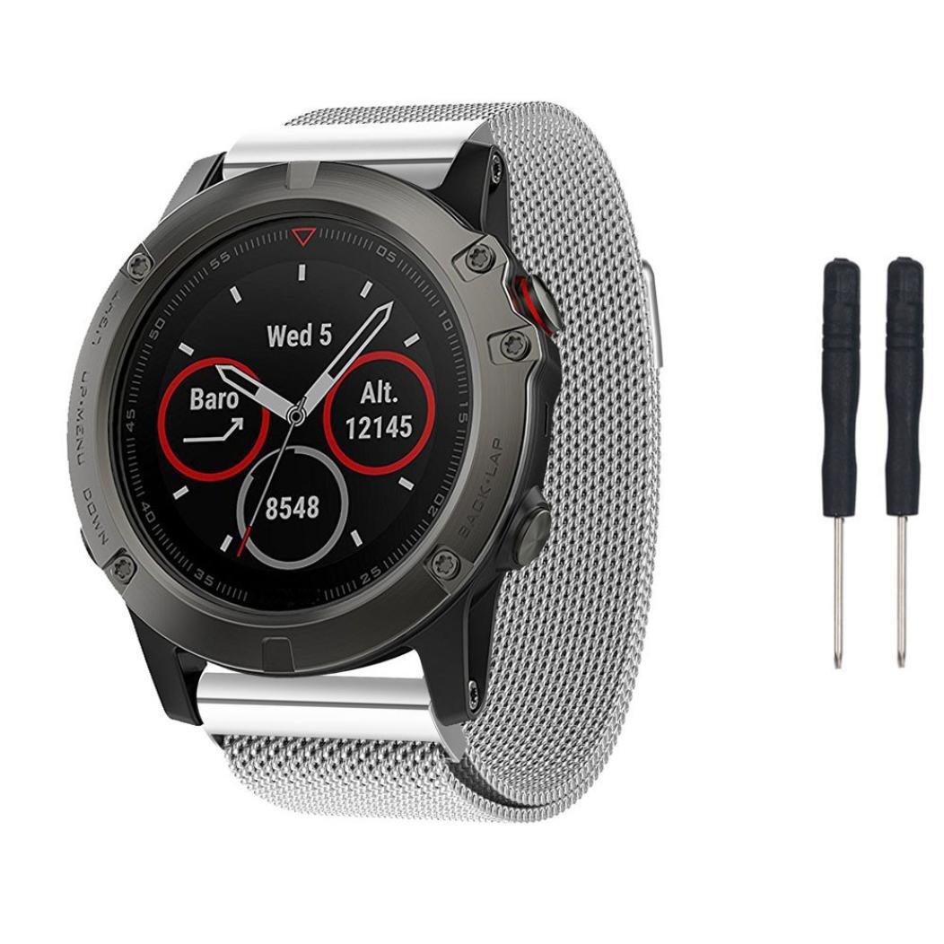 zty66 Milanese Loopステンレススチール時計バンドの交換用( 2pcs Screwdriversフリー) with磁気バックルfor Garmin Fenix 5 x GPS Watch シルバー シルバー B073F53TJV