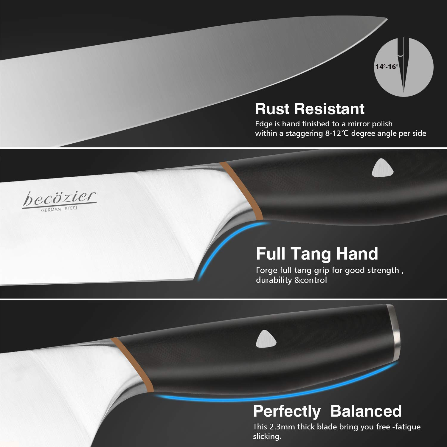 Becozier chef knife,8 inch professional kitchen knife,German High Carbon steel stainless steel with G10 handle sharp Edge,Ergonomic Grip by Becozier (Image #2)