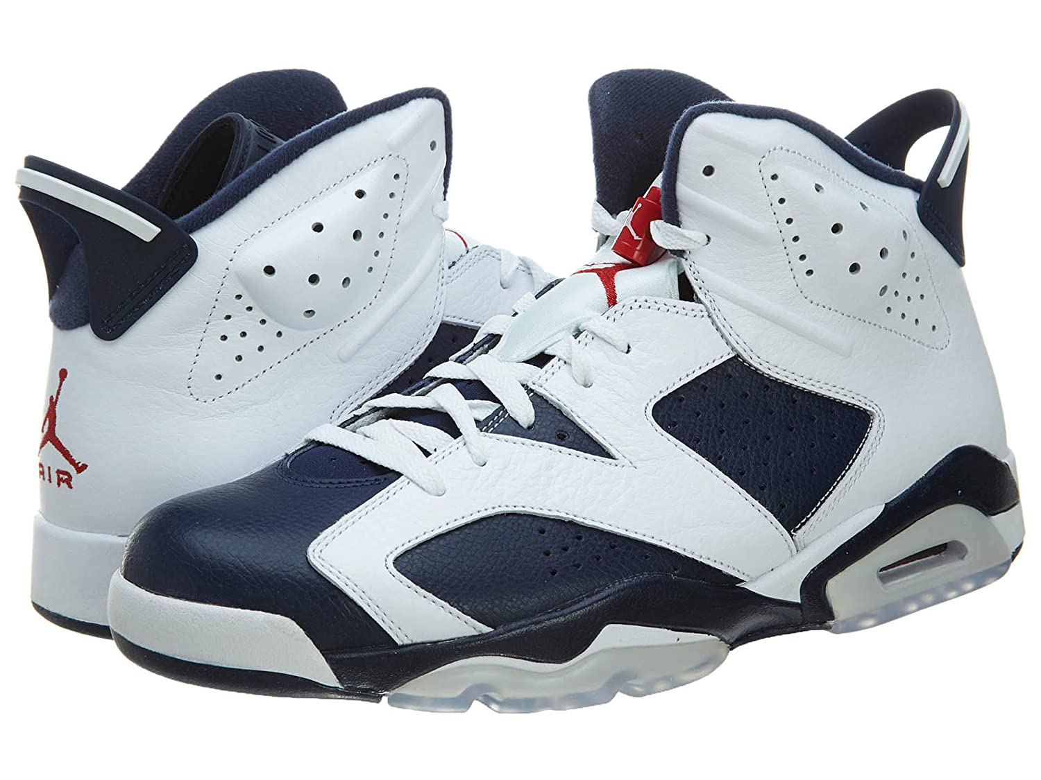 promo code 1a86e 65369 Nike Mens Air Jordan 6 Retro Olympic White/Midnight Navy-Varsity Red  Leather Basketball Shoes Size 9.5