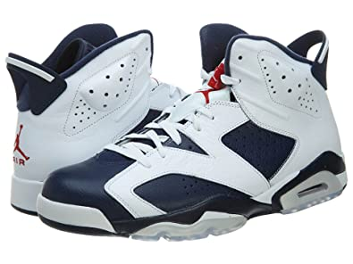d94583e2cd17 Image Unavailable. Image not available for. Color  Nike Mens Air Jordan 6  Retro Olympic White Midnight Navy-Varsity Red Leather Basketball