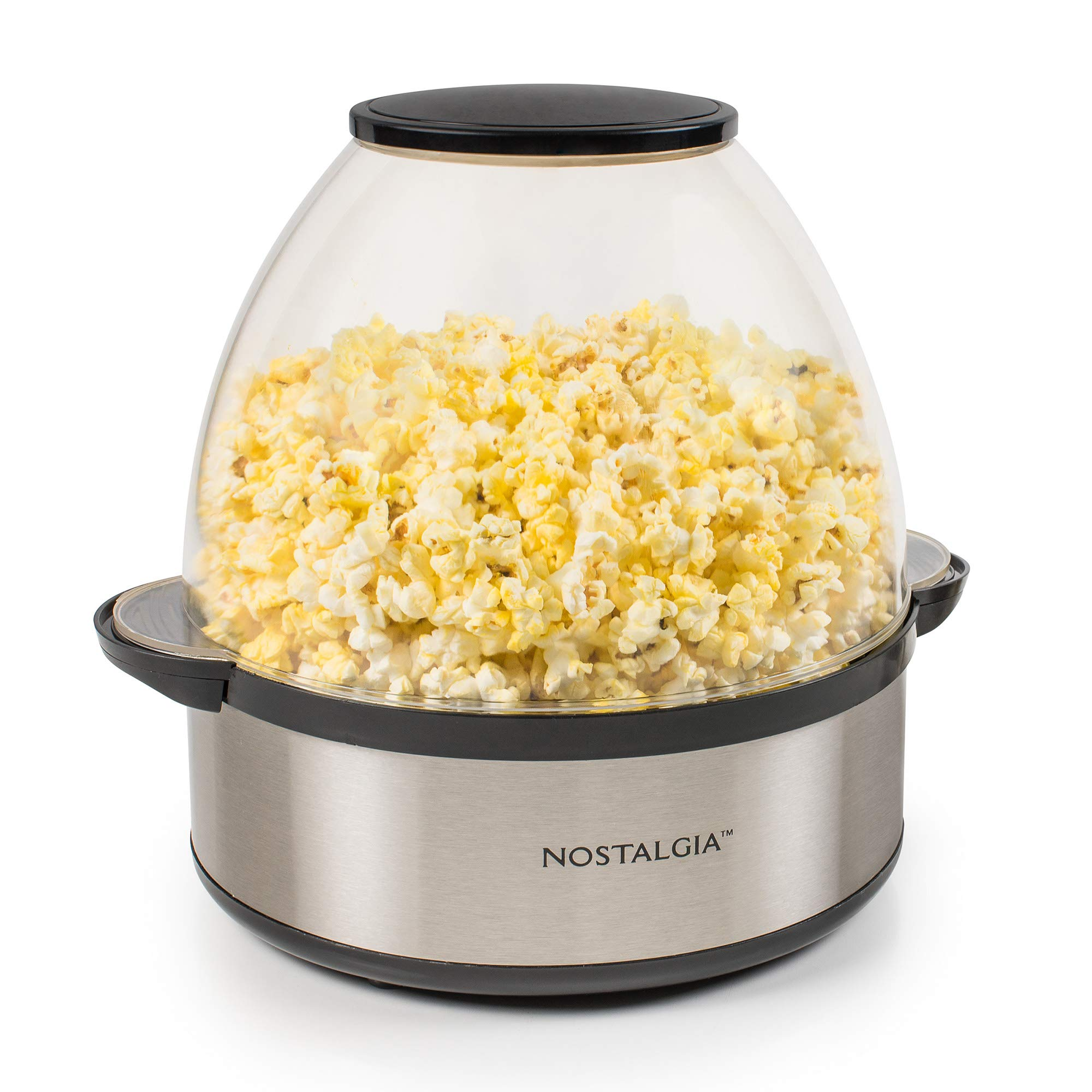 Nostalgia SP660SS 6-Quart Stirring Popcorn Popper With Quick-Heat Technology, Makes 24 Cups of Popcorn, Kernel Measuring Cup, Oil Free, Makes Roasted Nuts, Perfect for Birthday Parties, Stainless by NOSTALGIA