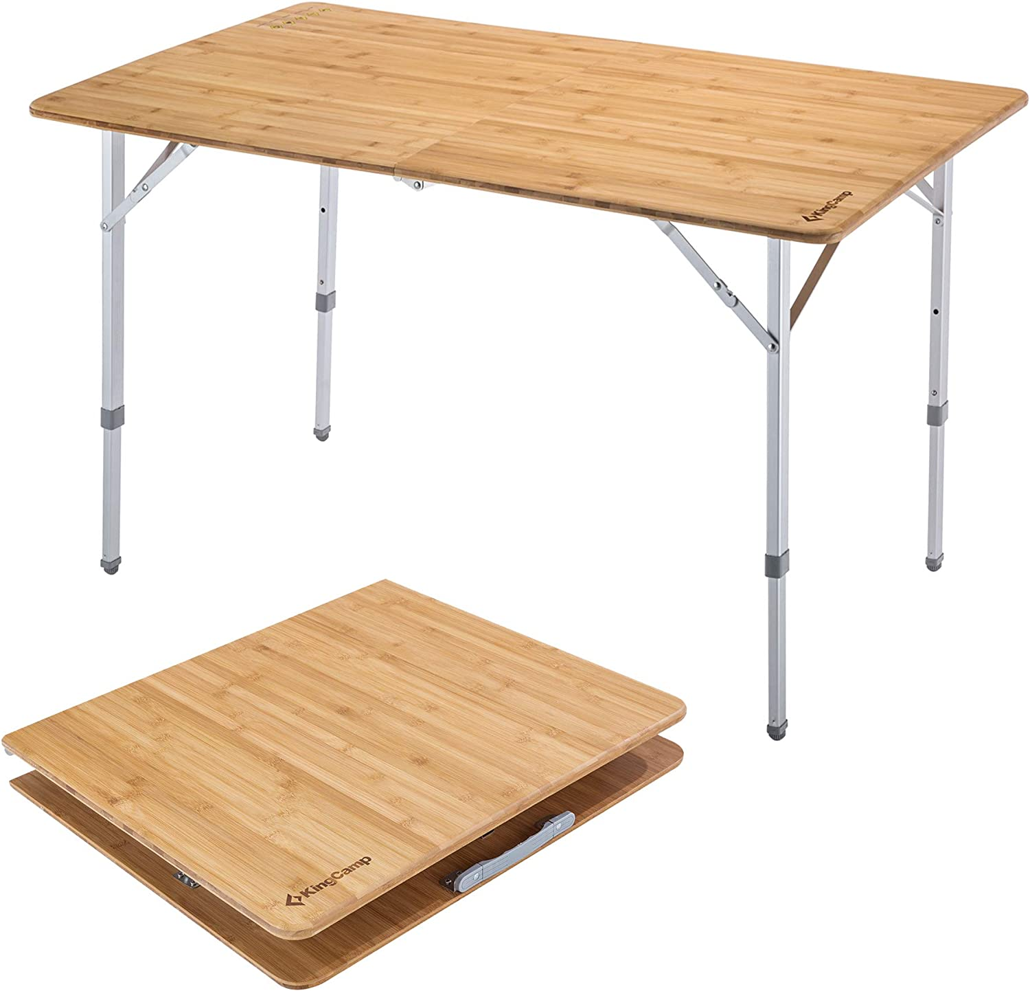 KingCamp Folding Bamboo Table Aluminum Frame 3 Heights 4 Person / 6 Person