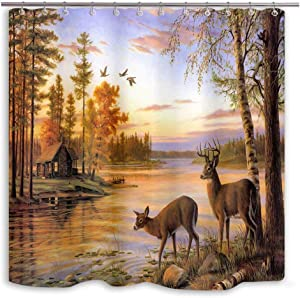 DYNH Elk Shower Curtain Animals Theme, Deer Safair in Stream River at Forest Sunset Shower Curtain, Fabric Bathroom Decor Accessories, Bath Curtains 12 PCS Hooks, 69X70IN