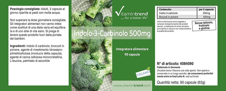 Indol–3–Carbinol 500mg ⚡️ 90 Cápsulas ⚡️ Extracto de brócoli en polvo– Antioxidante natural para el sistema inmune – Protege las células