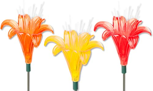 Exhart Solar Lily Flowers, Red, Orange and Yellow, 3-Pack