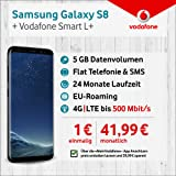 Samsung Galaxy S8 mit 64 GB internem Speicher, Vodafone Allnet-Flat Smart L+ inkl. 5 GB Highspeed Volumen mit max 500 Mbit/s inkl. Telefonie- und SMS-Flat, EU-Roaming, 24 Monaten min. Laufzeit, mtl. € 41,99
