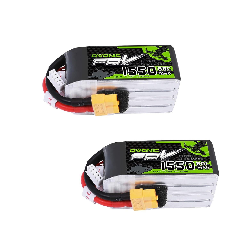 OVONIC FPV LiPo 14.8 V 1550 mAh 80C 4S batería con Conector XT60 ...
