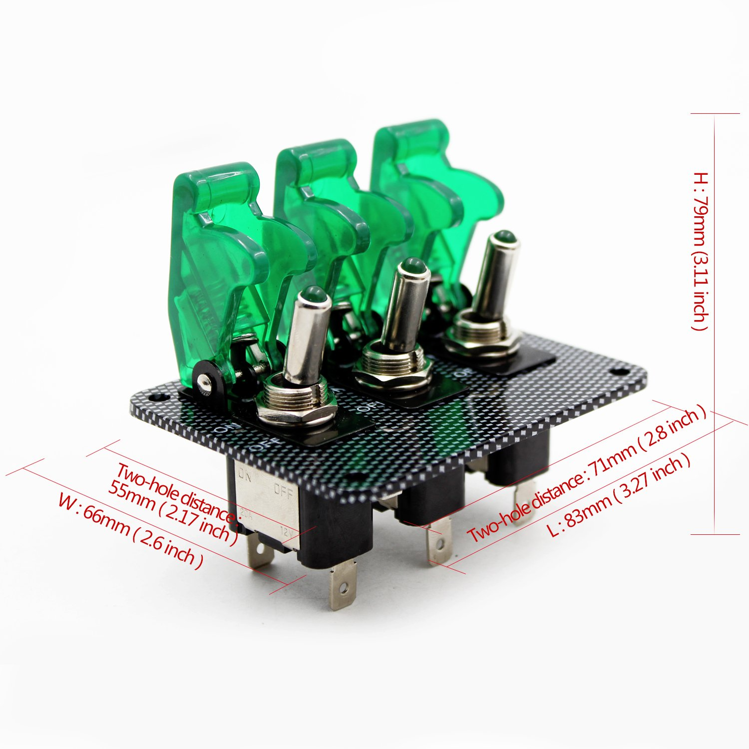 12v Toggle Switch Racing Ignition Engine Relays Switches Relay Wiring Diagram Together With Clap Circuit Carbon Fiber Surface Panel Car Led Indicatorgreen Automotive
