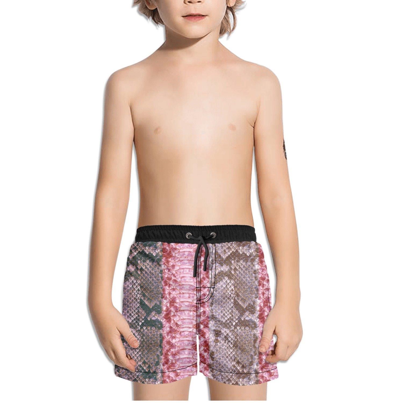 Trum Namii Boys Quick Dry Swim Trunks Purple Red Python Snake Skin Shorts