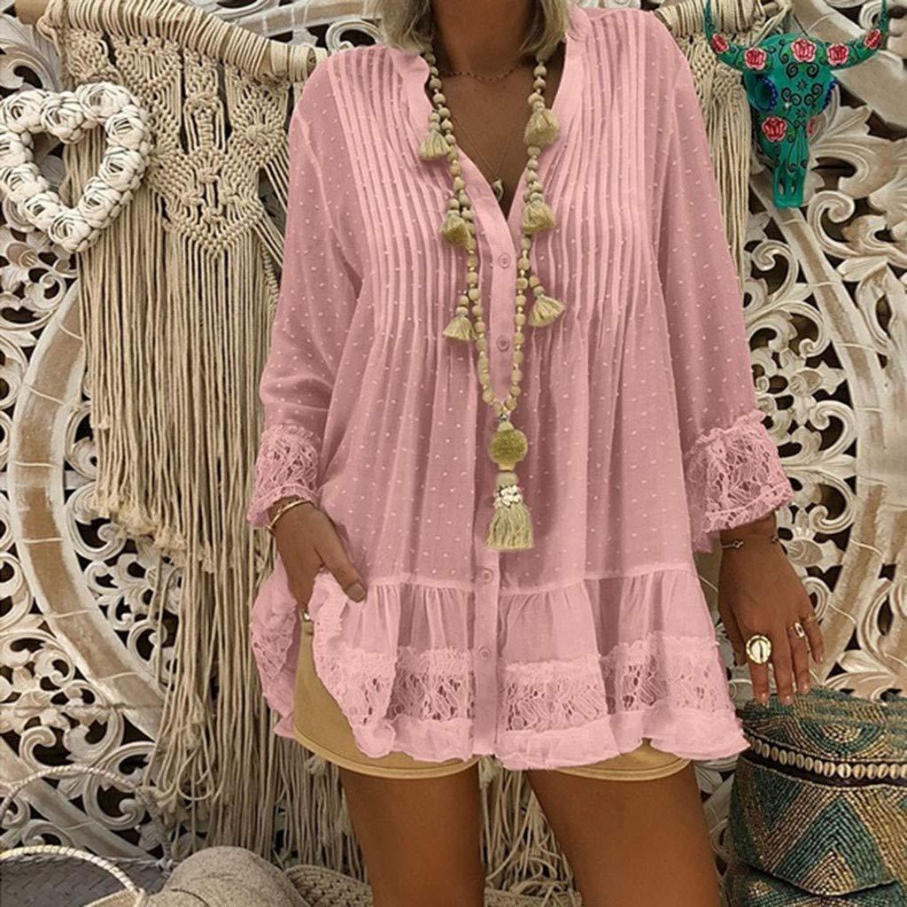 LUXISDE Womens Tops Womens Tops Short Sleeve Women V Neck Caftan Boho Beach Cover Plus Size Ladies Vintage Hippie Baggy Bloue