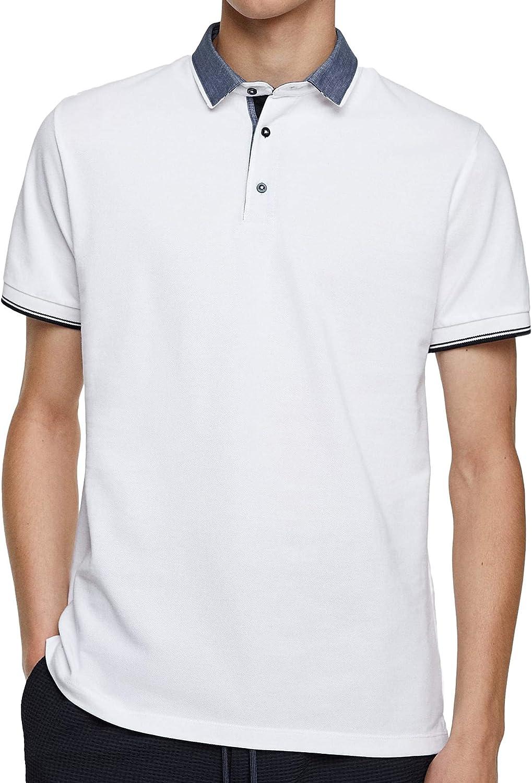 Zara Men Contrasting Piqu? Polo 8373/300 - Blanco - Medium: Amazon ...