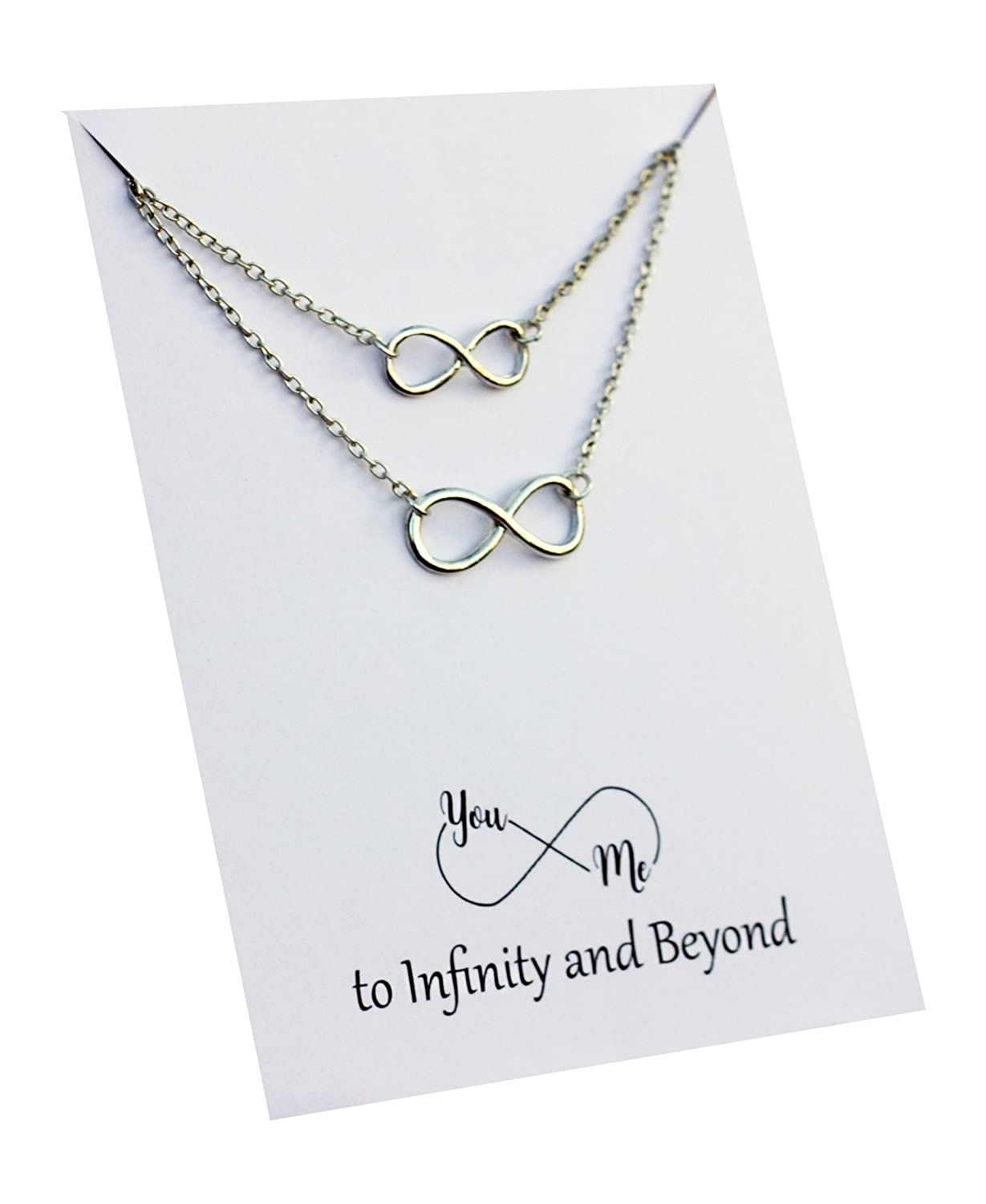 Friendship Necklace Infinity Beyond Pendant Gift card Family Friends Interlocking circles unbiological sister necklace
