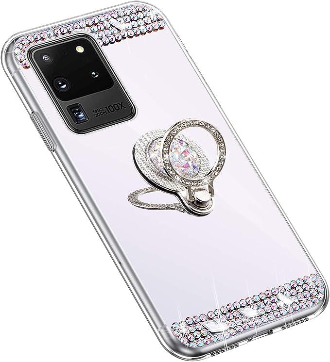Uposao Espejo Funda para Samsung Galaxy S20 Ultra Purpurina Funda Carcasa Espejo + Anillo Soporte Móvil Diamante Glitter Brillante Carcasa Silicona TPU Gel Suave Ultra Hybrid Funda Bumper,Dorado: Amazon.es: Electrónica