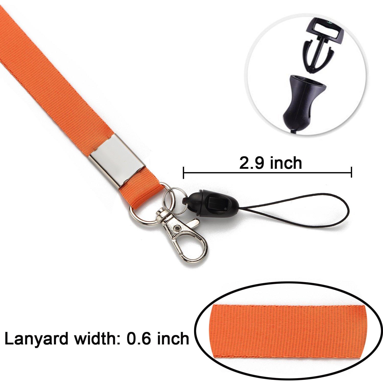 5 Pack Office Neck Lanyards Detachable Buckle Enhanced Model Hook breakaway Strap Quick Release safety lanyard for ID Badge,Key,women men Cell Phones USB Whistles Nylon Black,blue,yellow,orange,purple