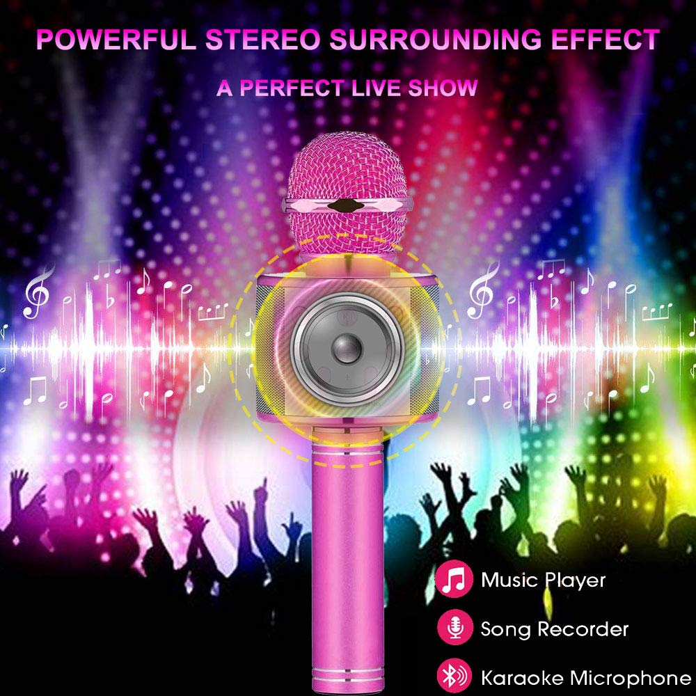 Toys For 5-14 Years Old Girl Gifts,Niskite Wireless Bluetooth Karoake Microphone For Kids Age 4-12,Best Fun Birthday Gifts For 6-13 Years Teens Girls Boys Purple by Niskite (Image #5)