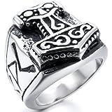 INBLUE Men's Stainless Steel Ring Silver Tone Black