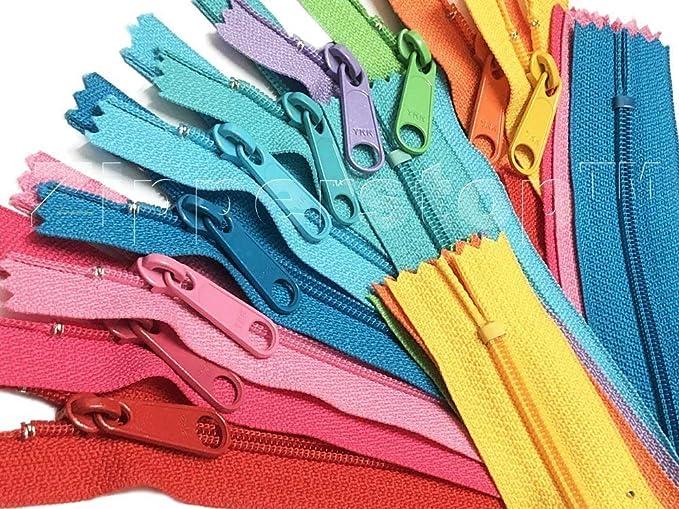 Zipperstop YKK #4.5 Fashion Trends - Bolso de mano con cremalleras largas para coser y manualidades, fabricado en EE. UU. con cordón blanco y bolsa cilíndrica de vinilo (14 pulgadas, 10 cremalleras,