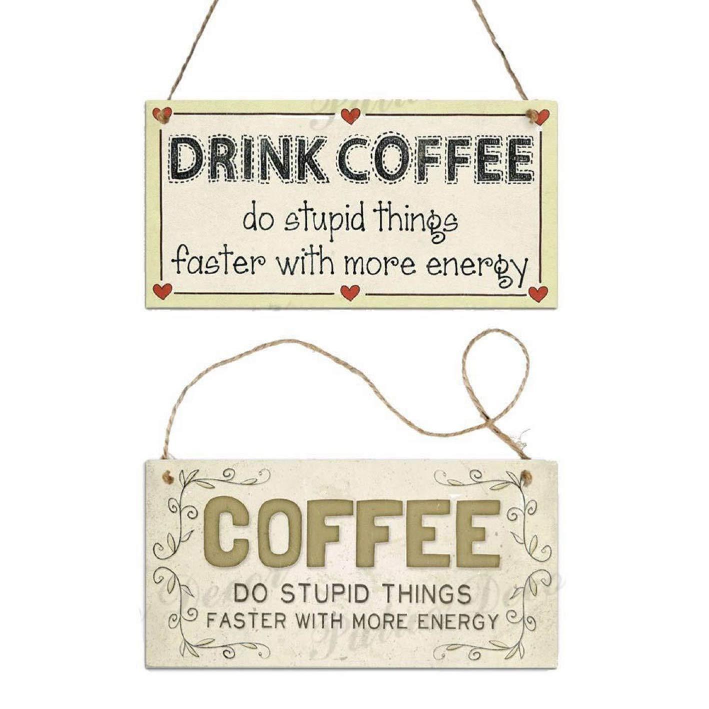 tianshi Simple 7.8 x 3.9 Pulgadas 12 Tipos de letreros de caf/é de Madera para Colgar Placas Regalo hogar Cocina Barra de caf/é decoraci/ón