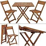 Salon de jardin 2 chaises 1 table pliantes bois huilé acacia balcon terrasse