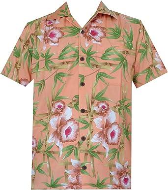 ALVISH - Camisas hawaianas de flamenco rosa para hombre, para playa, fiesta, casual, acampada, manga corta, crucero - Naranja - X-Large: Amazon.es: Ropa y accesorios