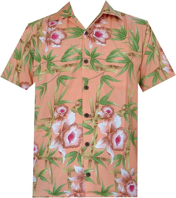 ALVISH - Camisas hawaianas de flamenco rosa para hombre, para playa, fiesta, casual, acampada, manga corta, crucero - Naranja - 4X-Large