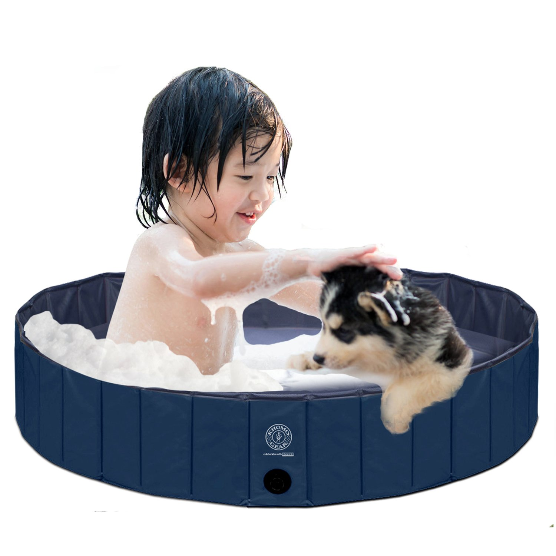 KOPEKS Round (32'' Diameter x 8'' Deep) Heavy Duty PVC Outdoor Pool/Bathing Tub - Portable & Foldable - Small