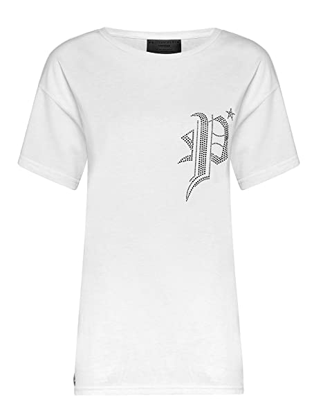 f74955bd9e3 Philipp Plein Women's P19CWTK1341PJY002N0102 White Cotton T-Shirt at ...