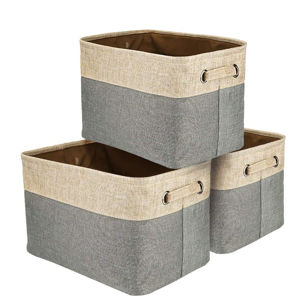 Fabric Bin Set,Foldable Storage Cube Basket Bin,Collapsible Rectangle Organization Baskets,for Nursery,Closet,Toy,Bra Bin,Cosmetic Storage Box (3 Pack)