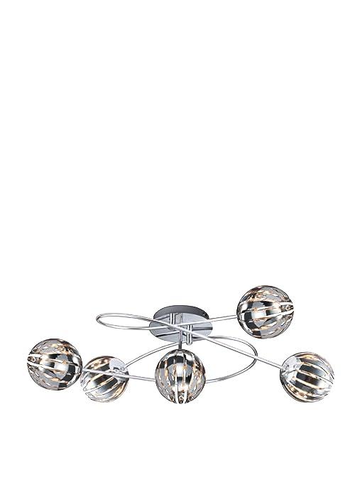 Trio 634010506 Serie 8140 - Plafón con 5 luces, bombillas incluidas, G9, Halógeno