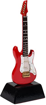 Figura de guitarra eléctrica en miniatura, color rojo, 15,2 cm ...