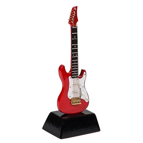 Figura de guitarra eléctrica en miniatura, color rojo, 15,2 cm