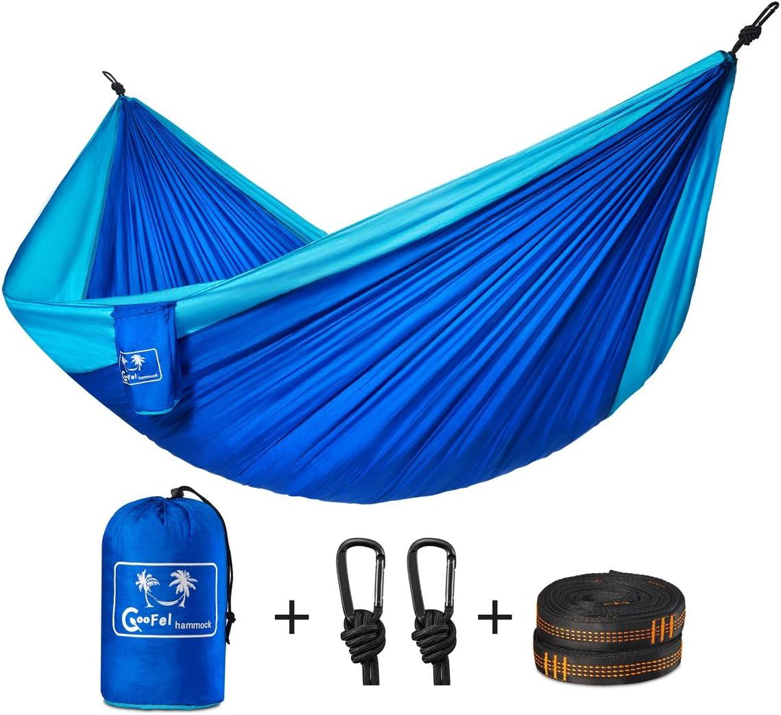 camping hammock coofel portable double hammock nylon parachute hammock for travel camping with hammock straps amazon    hammocks stands  u0026 accessories  patio lawn  u0026 garden      rh   amazon