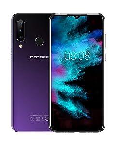 DOOGEE N20 Smartphone Libres, 2019 Android 9.0 4G Teléfono Móvil Libres Dual Sim, Octa Core 4GB RAM+64GB ROM, 6.3 Pulgadas FHD+, 16.0MP+8.0MP+8.0MP, 4350mAh Face ID+Huella Digital, Púrpura
