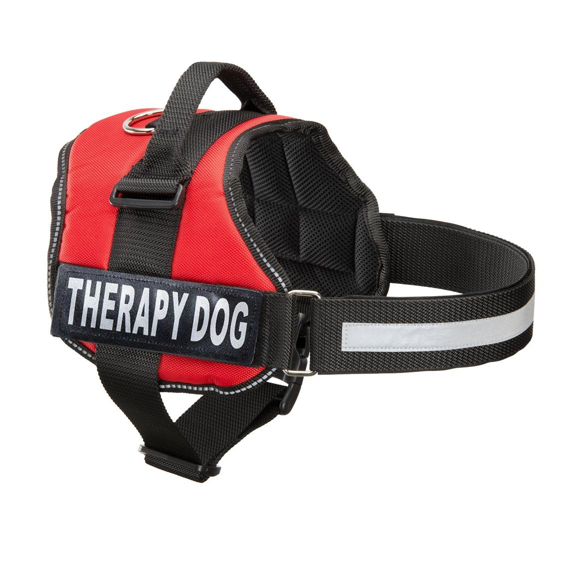 Industrial Puppy Therapy Dog Vest Harness, Training Dog Vest with 2 Reflective THERAPY DOG Hook and Loop Patches -Attach Animal Collar Tag, Patch, or Small ID Card for Dogs