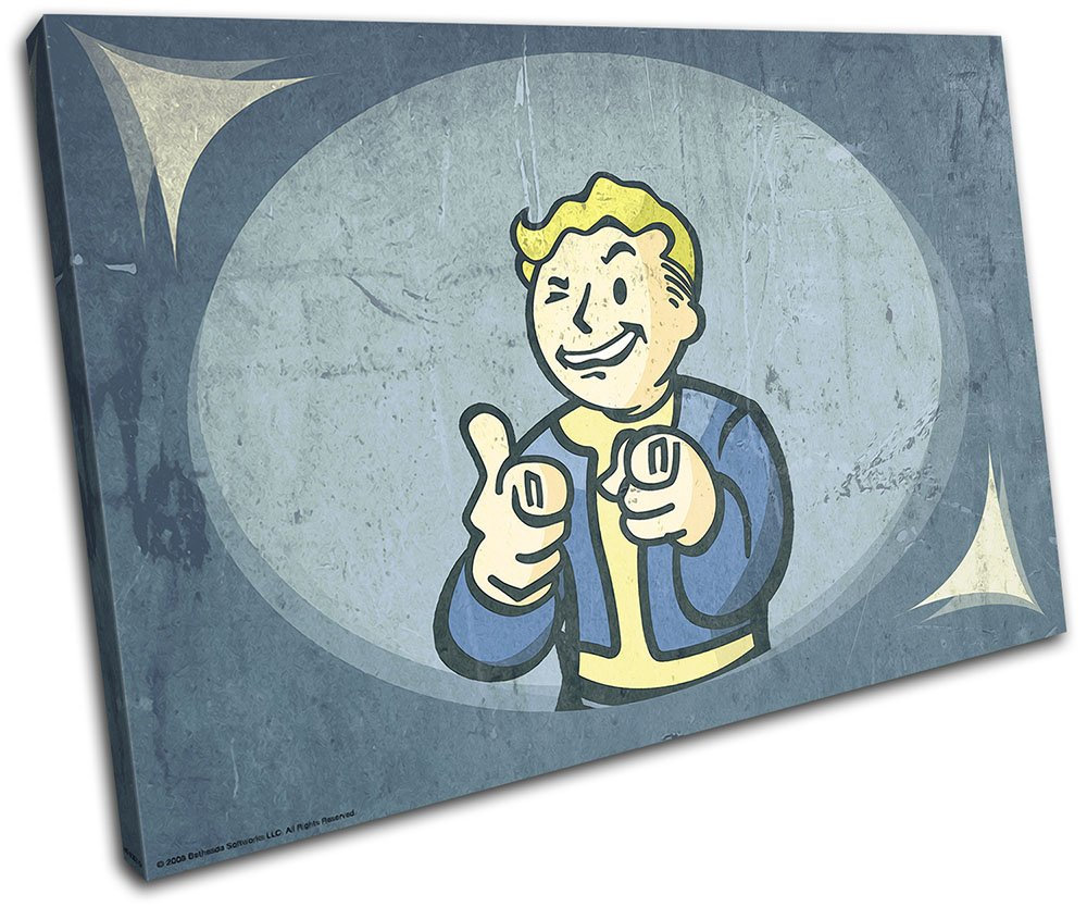 Bold Bloc Design - Fallout 4 Pip Boy Gaming 60x40cm SINGLE Canvas Art Print Box Framed Picture Wall Hanging - Hand Made In The UK - Framed And Ready To Hang Bold Bloc Design Ltd.