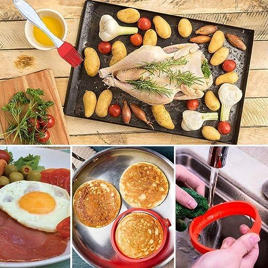 Moldes de silicona para escalfar huevos,Molde de Anillo de cocción de Huevo Anillo de Mcmuffin de Huevo utensilios de cocina para microondas