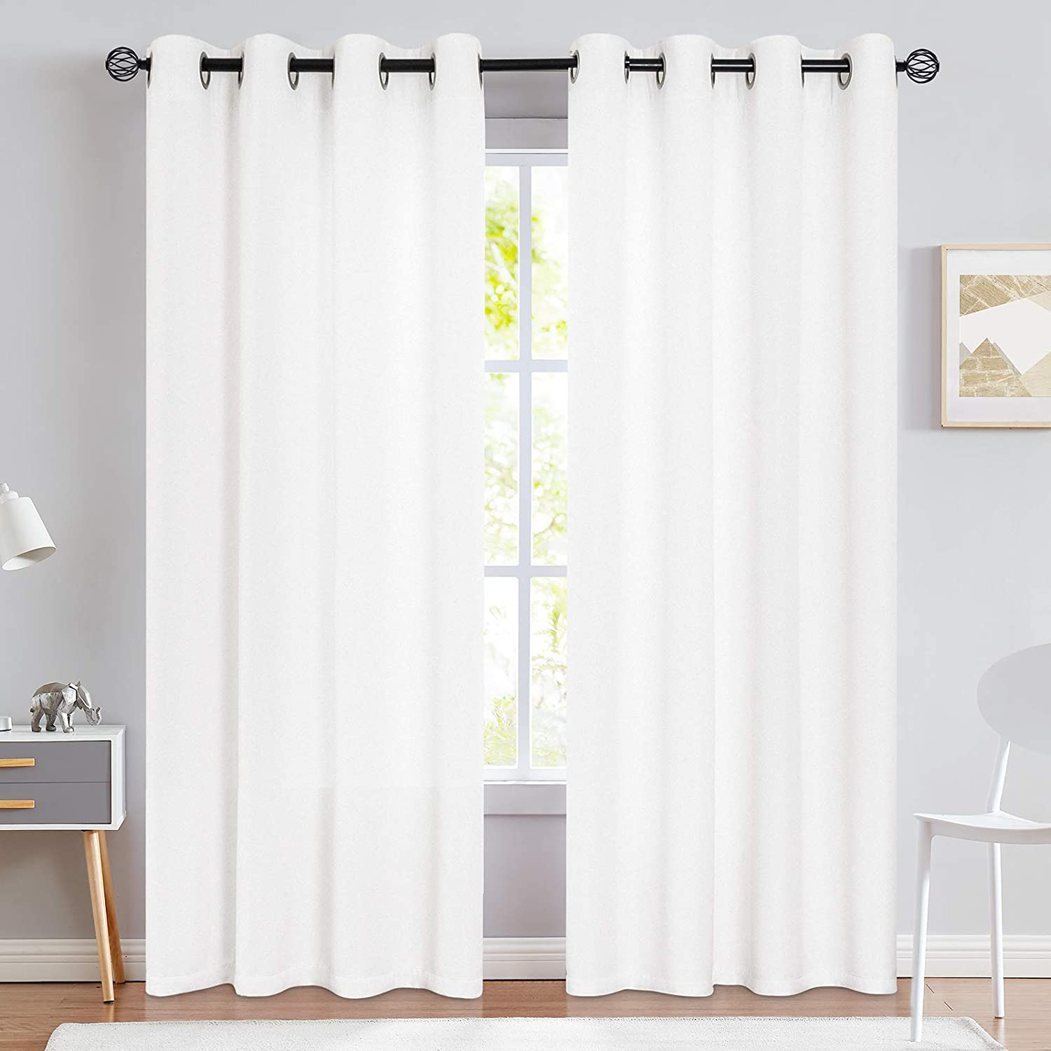 jinchan Curtains for Bedroom Heavy Light Filtering Curtain Whites 84 inches Long Lilac Linen Textured Window Drapery 1 White