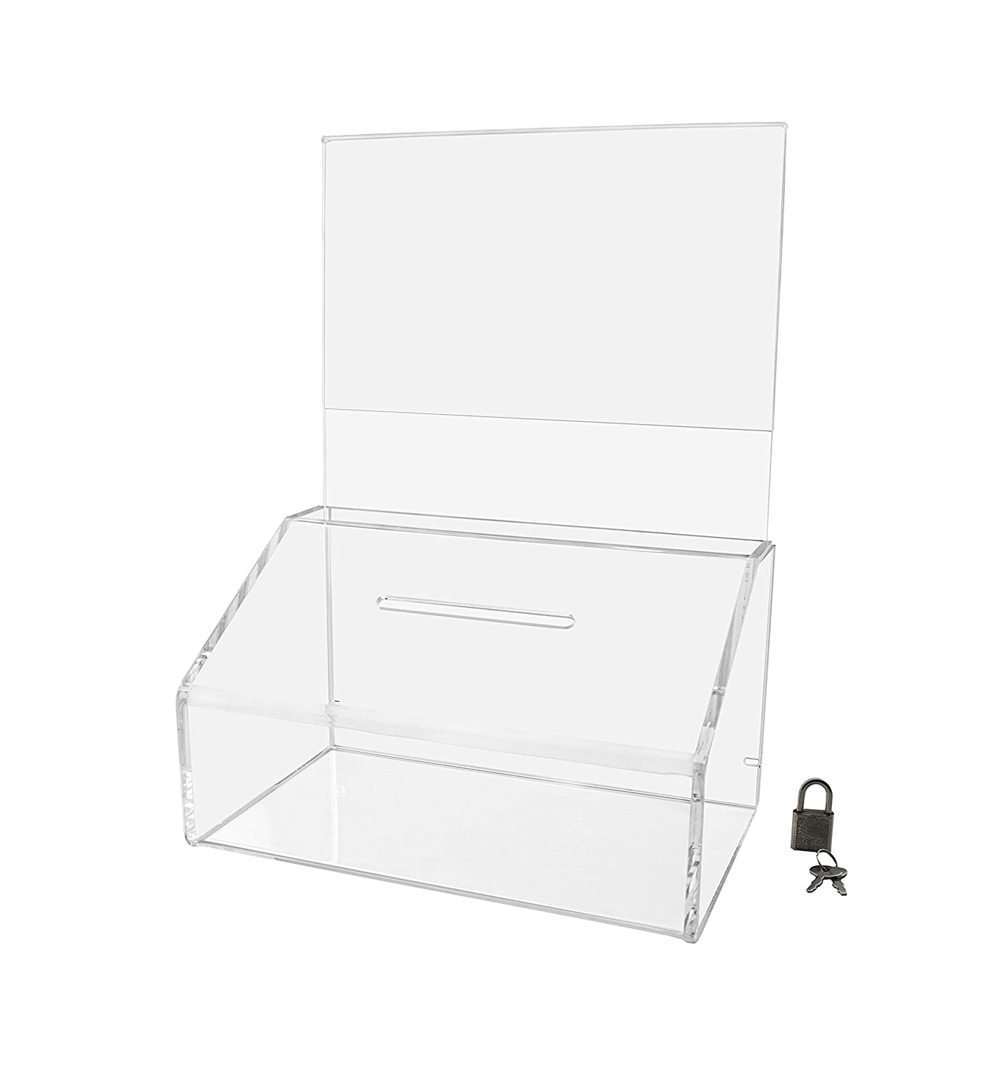 Marketing Holders Ballot Box Comment Suggestion Collection Contest Acrylic Cube 5.5w x 8.5h Black