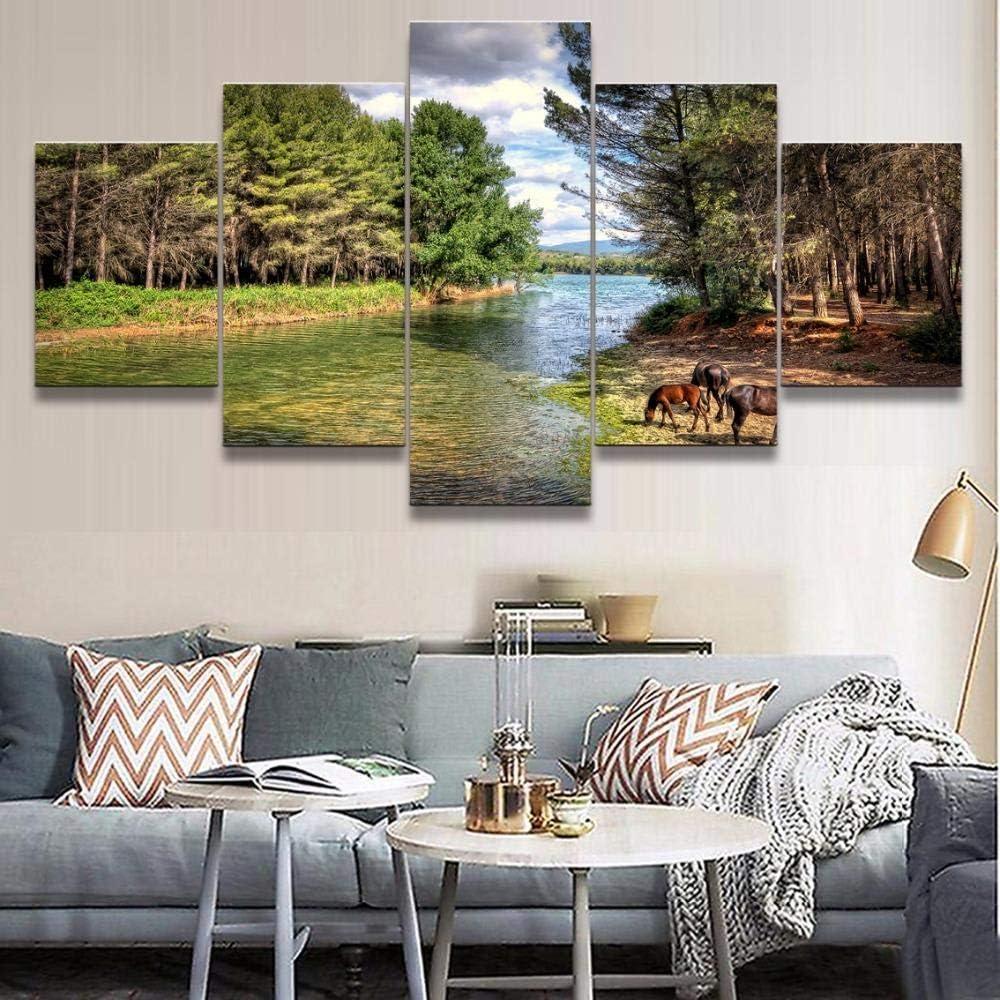 Rkmaster-Modern lienzo decorativo imprime 5 tableros cuadros de paisajes con animales caballo pared arte pintura cartel marco cuadros modulares   pintura
