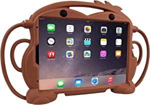 CHIN FAI Kids Case for iPad Pro 11 2020 2nd Generation - Fits iPad Pro 11 2018, Shockproof Silicone Handle Stand Protective Cover with Built-in Apple Pencil Holder for 11-inch iPad 2018 2020 (Brown)