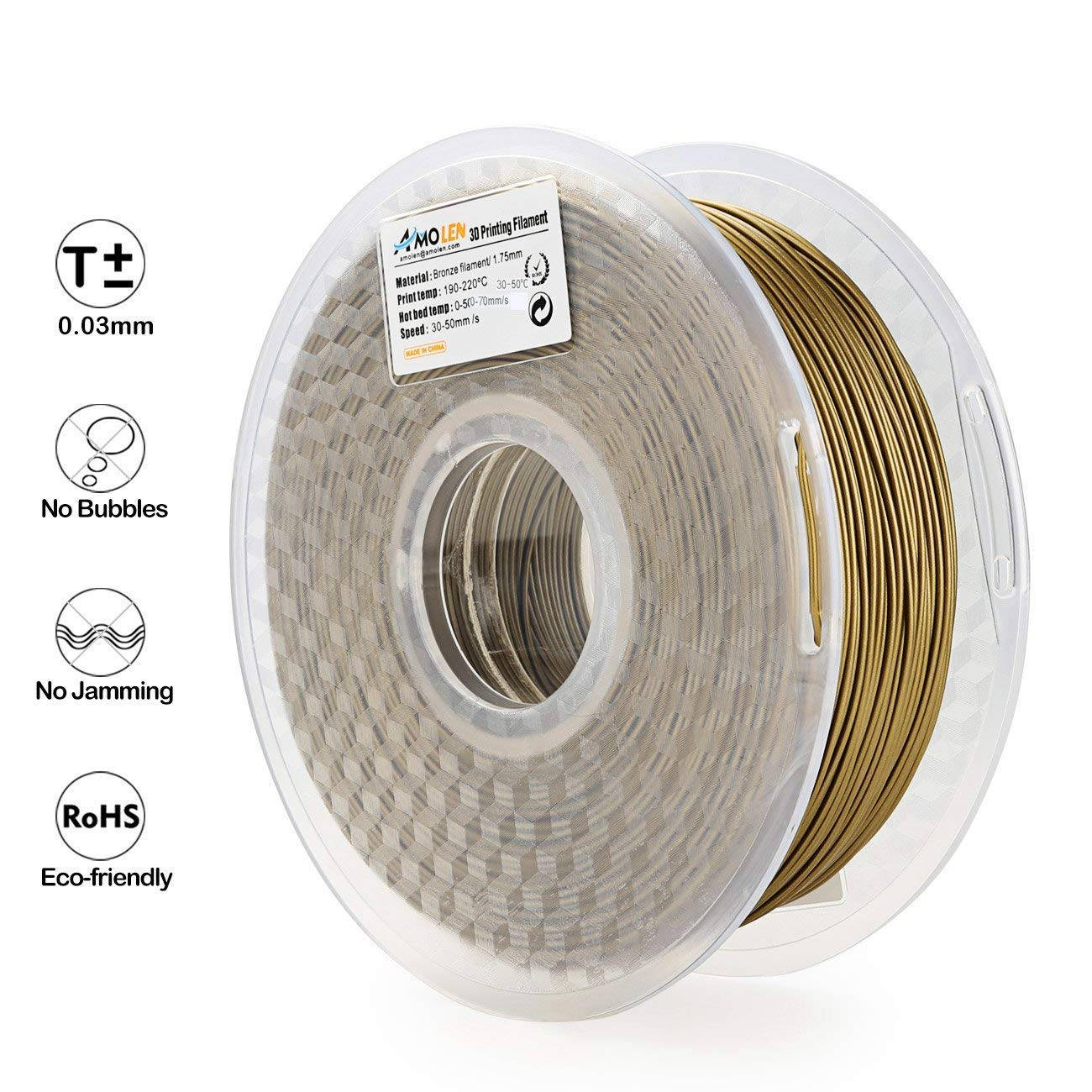 Spool includes Sample/Marble/Filament 2.2LBS 1KG AMOLEN/3D/Printer/Filament,/Frosted Bronze PLA/Filament/1.75mm/+//-/0.03/mm