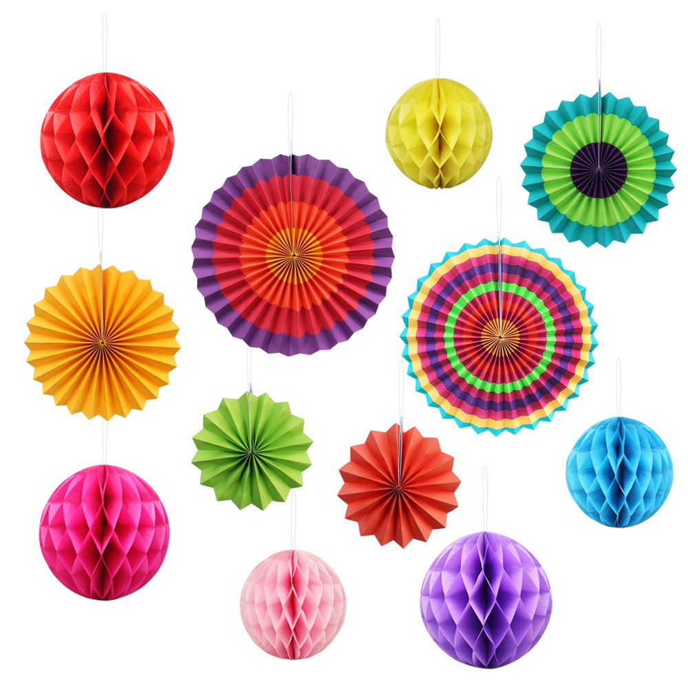 Fiesta Paper Fan Decoration Supplies,Yotako 6Pcs Round Wheel Tissue Paper Fan + 6Pcs Hanging Paper Honeycomb Balls Lantern for Christmas Wedding Party Baby Shower First Birthday Wall Decor